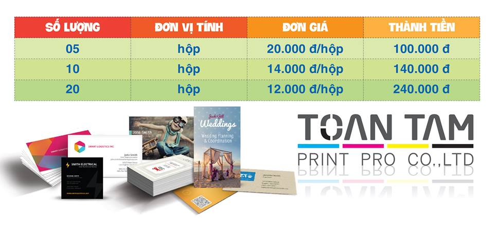 bang gia thiet ke in an name card