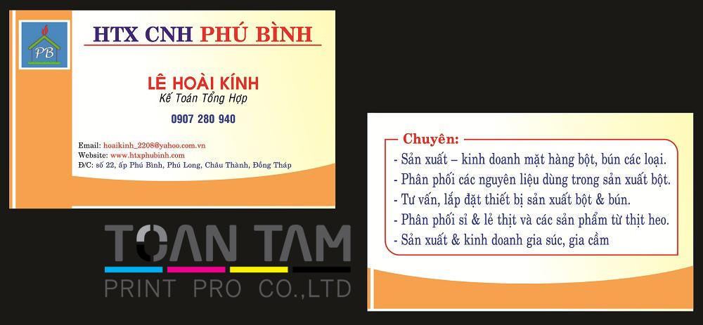 Mẫu Thiết Kế Name Card Phú Bình