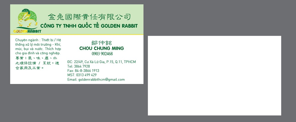 Mẫu Thiết Kế Name Card Công Ty Golden Rabbit