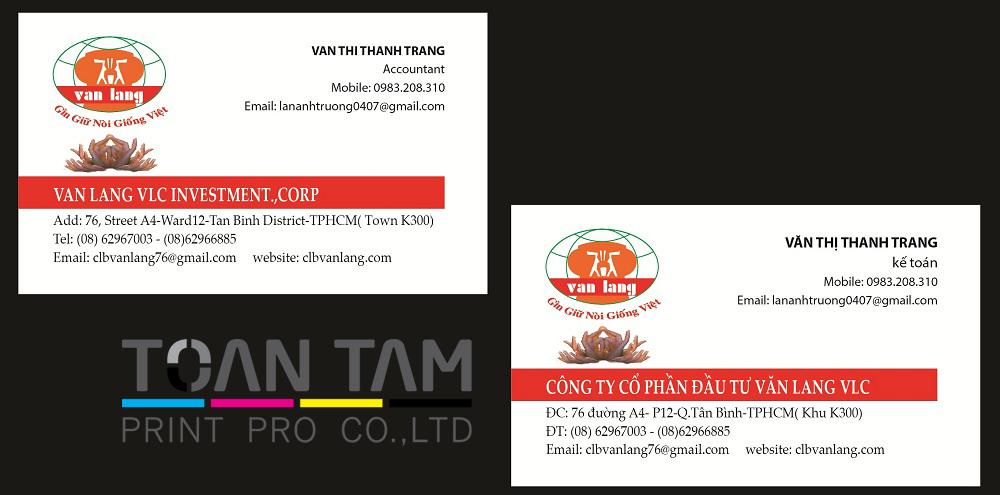 Mẫu Thiết Kế Name Card Công Ty Văn Lang