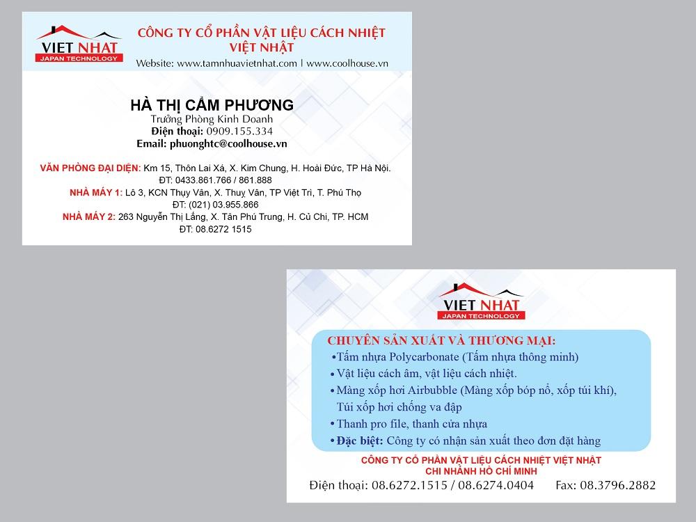 Mẫu Thiết Kế Name Card Công Ty Việt Nhật