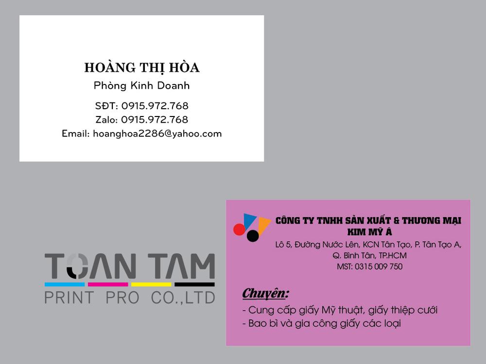 Mẫu Thiết Kế Name Card Kim Mỹ Á