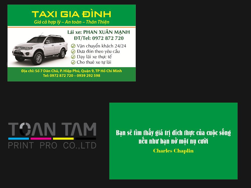 mau thiet ke name card taxi gia dinh